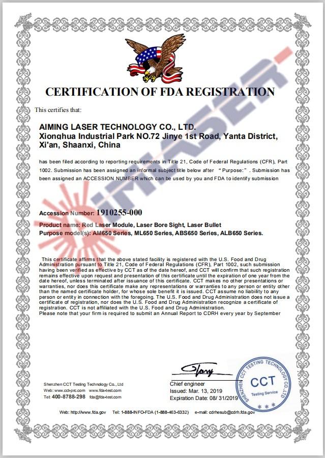 Red laser FDA Certofocate